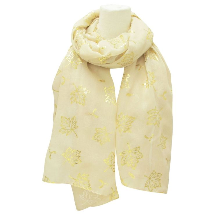 Maple Leaves Metallic Print Scarves Beige - Available May 2017