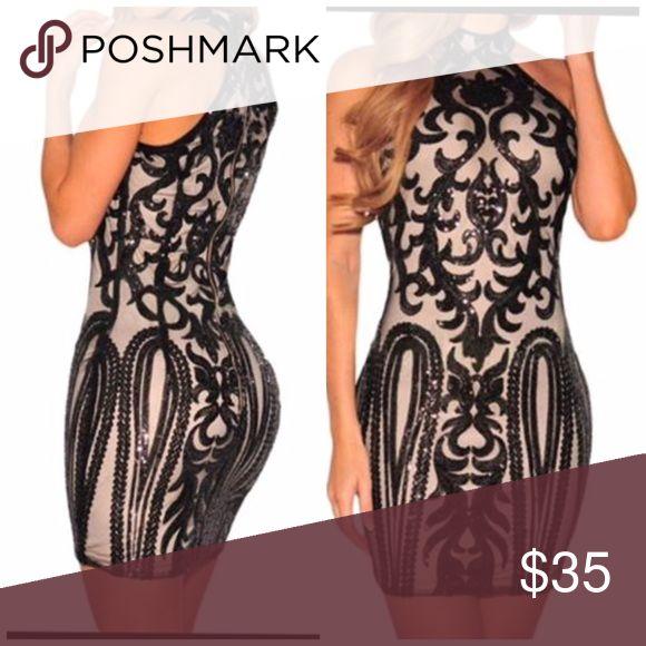 Sequin party dress Black and nude sequin short dress Dresses Mini