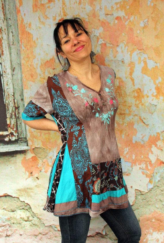 Reserved for Karon, do not purchase this item.  Patchwork recycled dress tunic. Made from recycled clothing. Embroidered, includes pieces of India cotton sari fabrics. Hippie boho style. One of a kind.  Size: L-XXL (european 40-44)  Bust line max 48 inches (122 cm) stretching  Hips line max 55 inches (140 cm)  Length about 33 inches (83 cm)