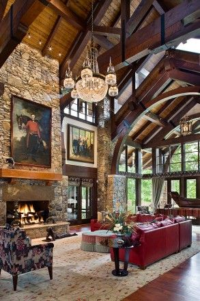 241 best images about ceiling trusses and arched beams on for Rustic elegant homes