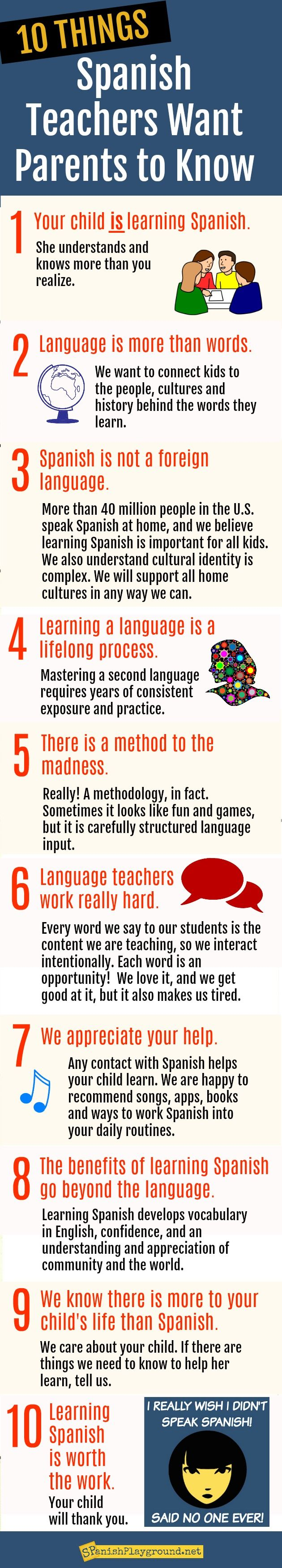Spanish teachers want parents to understand these important ideas about language learning.