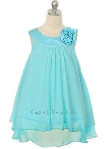 aqua flower girl dresses | NEW Flower Girls Aqua Blue Chiffon Dress 2 14 Easter Christmas ...