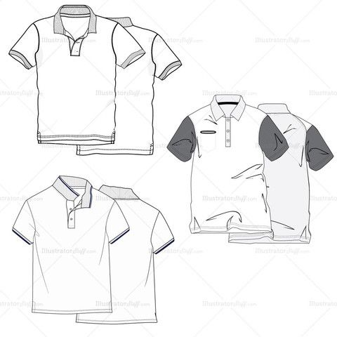 Men's Polo Shirt Fashion Flat Template #illySTUFF