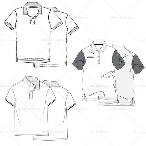 Men's Polo Shirt Fashion Flat Template #illySTUFF
