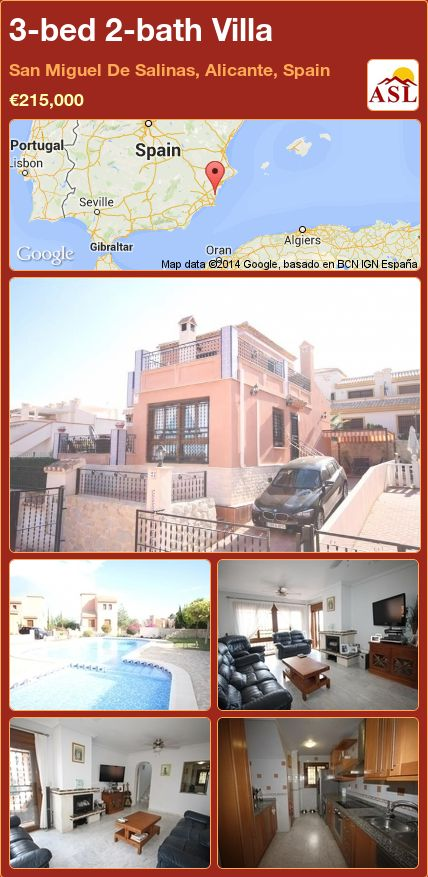 3-bed 2-bath Villa in San Miguel De Salinas, Alicante, Spain ►€215,000 #PropertyForSaleInSpain