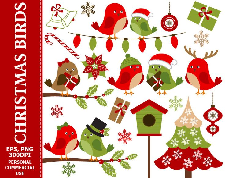 BUY 1 GET 1 FREE - Christmas Birds Clip Art - Bird, Christmas, Xmas, Holly, Christmas Tree, Winter Clip Art. Commercial and Personal use by TheCreativeMill on Etsy https://www.etsy.com/listing/255812386/buy-1-get-1-free-christmas-birds-clip