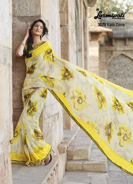 Wonderful color combination of yellow & cream with elegant floral prints, suits in this hot weather.