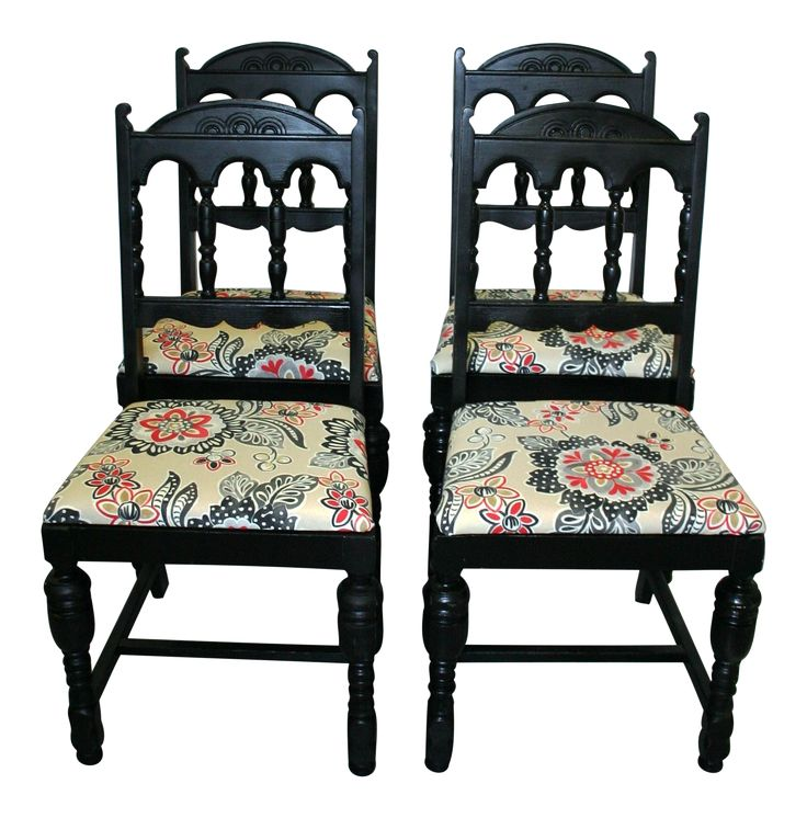 "Offered as a set of 4 transitional dining/side chairs with newly upholstered seats in ""Waverly Sun N Shade Tilt & Twirl Ebony"" fabric.  A gorgeous, easy-to-clean indoor/outdoor fabric perfect for family living. The chairs feature tan, black, and red upholstered seats complemented by a black painted wood finish on the base. These would be lovely in a traditional and transitional dining area."