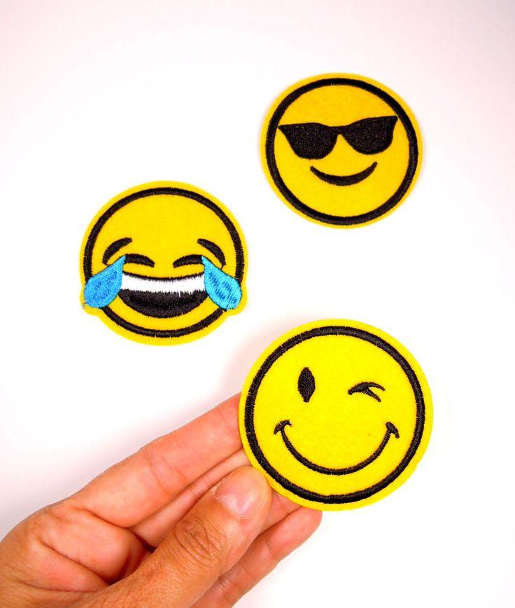 3 pcs Emoji Iron On Patches. Iron-on Garmet Patch Emoji, Winking Emoticon - Cool shades Emoji Patch. UK Seller by BrightonBabe on Etsy