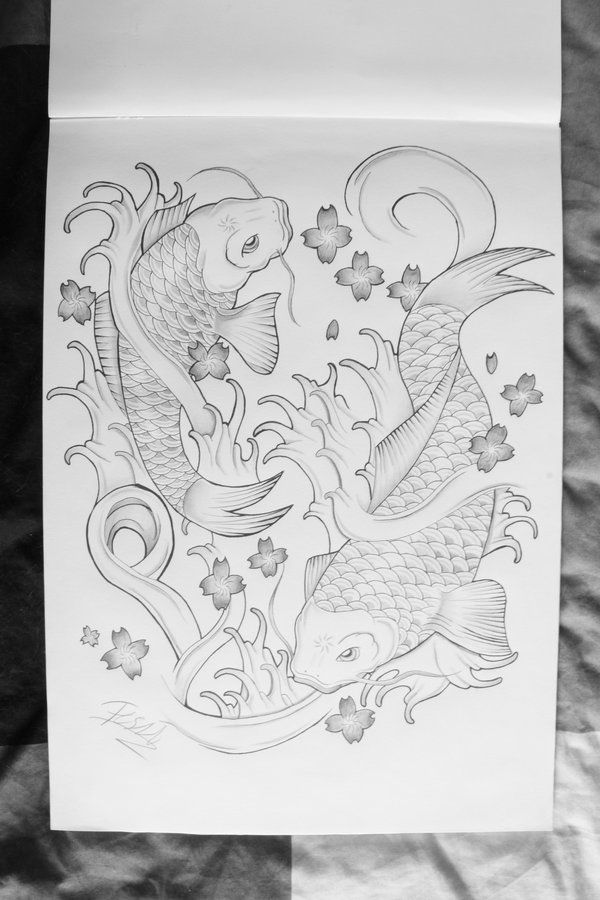 black and white drawings of koi fish | Tattoo koi fish design by ~ThereseDrawings on deviantART