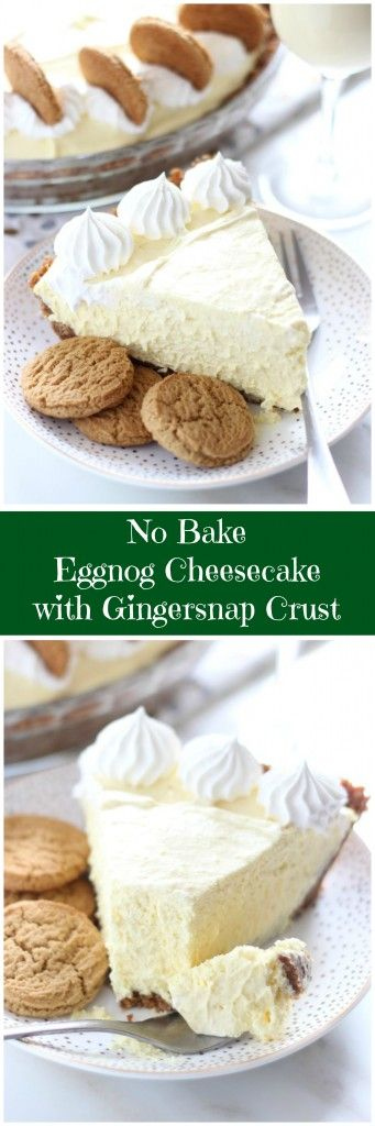 Super creamy and fluffy, this no bake Eggnog Cheesecake with Gingersnap Crust is delightful!