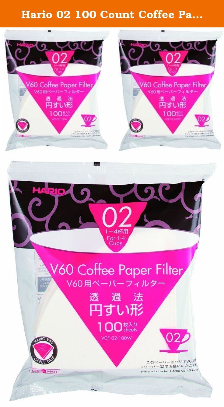 Hario 02 100 Count Coffee Paper Filter, White, 2 Pack