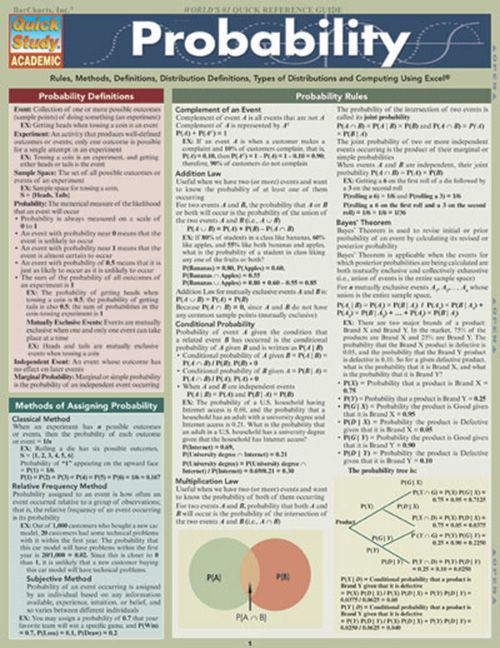 "BarCharts' handy 6 page guide can make even the most complicated probability equations a breeze. Definitions, hints and sample problems are contained within each page, along with full-color illustrations and graphs highlighting specific problems. The ""probability"" of attaining better grades with thi"