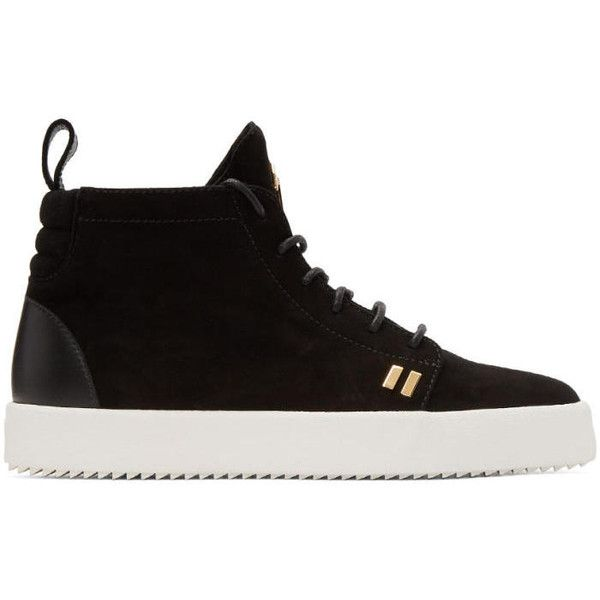 Giuseppe Zanotti Black Suede May London High-Top Sneakers (2.205.560 COP) ❤ liked on Polyvore featuring men's fashion, men's shoes, men's sneakers, black, cam nero, mens rubber sole shoes, mens black suede shoes, mens black shoes, giuseppe zanotti mens sneakers and mens black sneakers