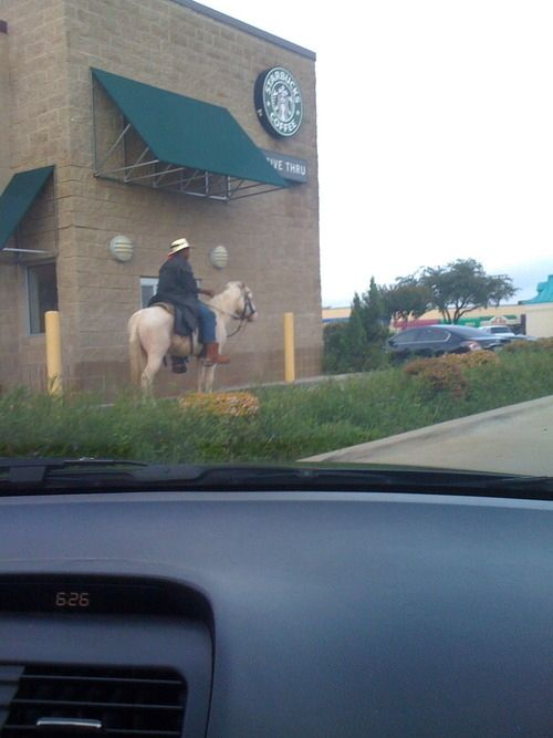 This cowboy just trying to get                                     his caffeine fill. Moments That Could                                     Only Ever Happen In Texas
