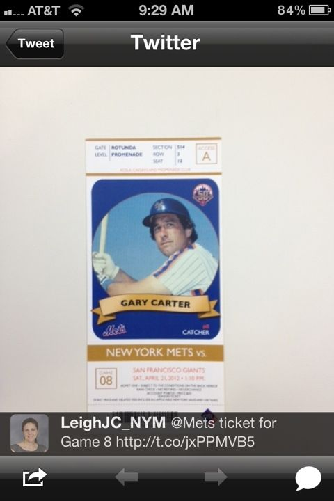 tickets for Game 8: Gary Carter