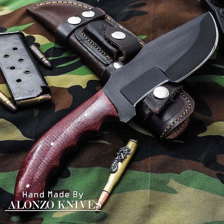 ALONZO KNIVES USA CUSTOM HANDMADE BUSHCRAFT TRACKER 1095