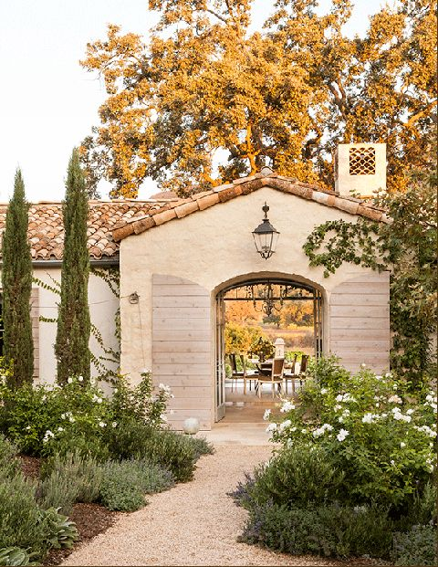 A Magical Ojai Oasis The Giannetti's Patina Farm: The husband-and-wife team—he's an architect, she's a decorator—made the decision a few years ago to leave the bustle of Los Angeles for a more rural setting.  In the best of California living, outdoor spaces blend seamlessly with interiors. Lantern, Troy Lighting.