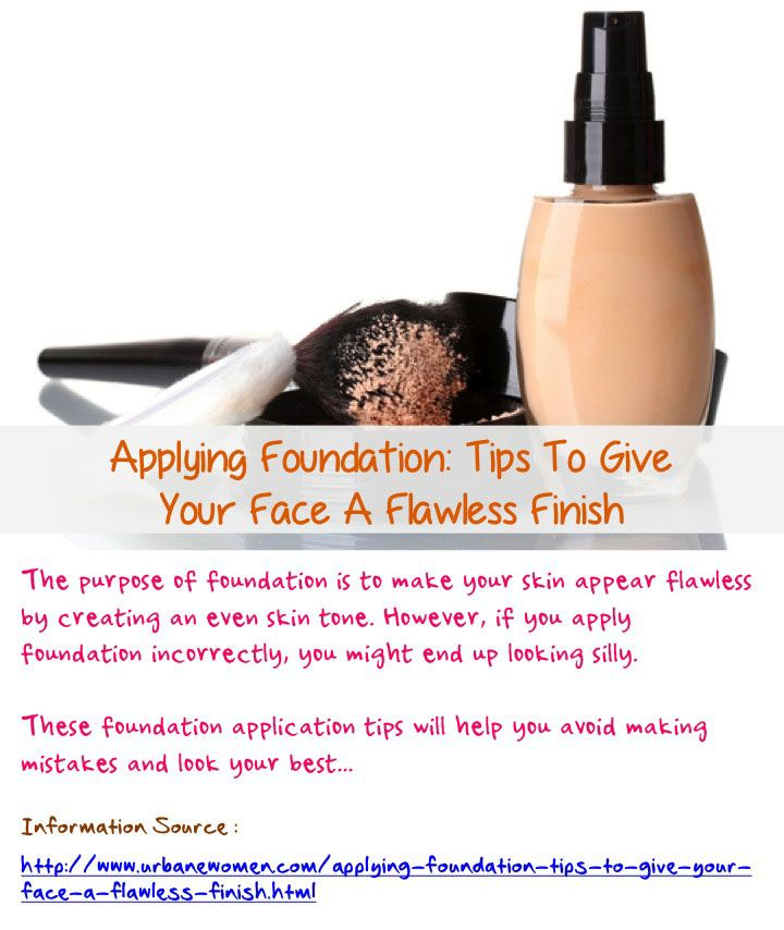 Applying foundation: Tips to give your face a flawless finish - The purpose of foundation is to make your skin appear flawless by creating an even skin tone. However, if you apply foundation incorrectly, you might end up looking silly. These foundation application tips will help you avoid making mistakes and look your best... Read on: http://www.urbanewomen.com/applying-foundation-tips-to-give-your-face-a-flawless-finish.html