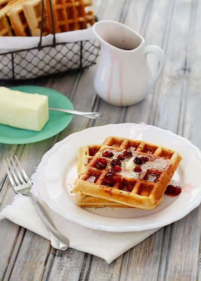 Healthy whole wheat waffles! YUM!