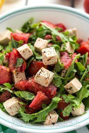 Веганский Нежданчик: Салат из томатов и тофу с зеленью