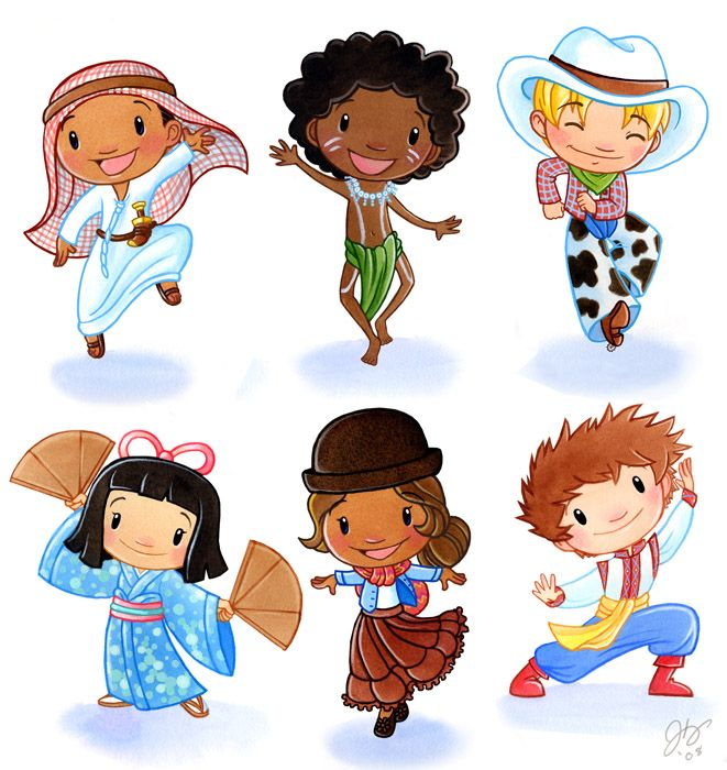Top: United Arab Emirates, Australia, United States of America. Bottom: Japan, Bolivia, Ukraine.   Children Around the World-2by ketari Traditional Art / Drawings / Illustration / Storybook©2008-2014 ketari