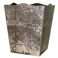 Antique Paris Map Decoupage Wastebasket and Optional Tissue Box