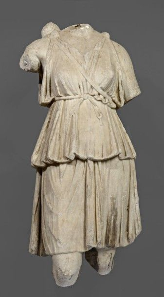 €277,243 for this headless torso of the goddess Diana in white marble, Roman art from the 1st/3rd century. Provenance; former Belgian collection, before 1970. Millon & Associés, sold on 8 June 2015