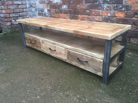 Industrial Chic Reclaimed wood Tv Stand media unit with 3 drawers. Steel and Wood Metal Hand Made in Sheffield