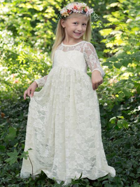 Ivory Lace Boho Rustic Flower Girl Dress