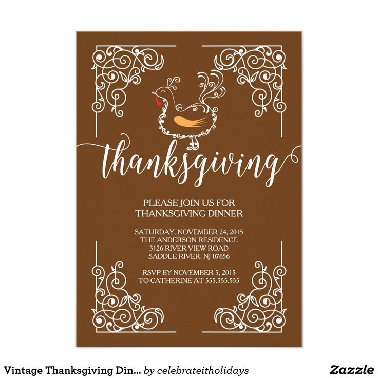 """Vintage Thanksgiving Dinner Party Invitation Stunningly beautiful Thanksgiving dinner invitation featuring a white vintage scroll frame showcasing a cute turkey with modern """"Thanksgiving"""" typography set on a autumn brown background . Flip our thanksgiving dinner invitation over to view a matching back for an extra special touch. Beautiful & unique invitation for your family & friends Thanksgiving day celebration."""
