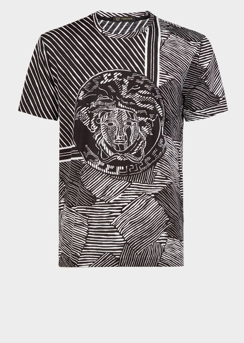 Versace Abstract Medusa  T-Shirt for Men | Official Website. Short sleeve, crewneck jersey t-shirt with an abstract print, and central Medusa detail.