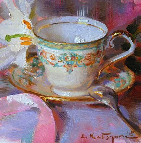 "Daily Paintworks - ""Teacup and White Lily"" - Original Fine Art for Sale - © Elena Katsyura"