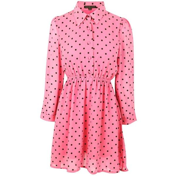 Adria Coral 10 Spot Print Skater Dress (£5) found on Polyvore featuring women's fashion, dresses, coral polka dot dress, full length dresses, spotty dress, button front dress and dot dress