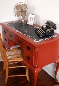 handpainted chalkboard desk from miss mustard seed interiors.