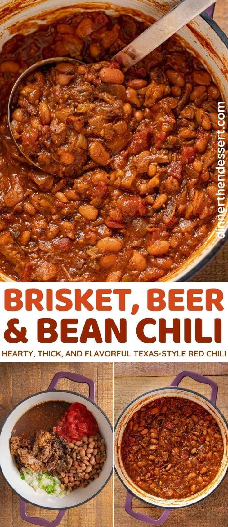 Brisket Beer And Bean Chili Is A Hearty Thick And Flavorful Texas Style Red Chili Made With Leftover Brisket Chili Recipe Leftovers Recipes Mild Chili Recipe