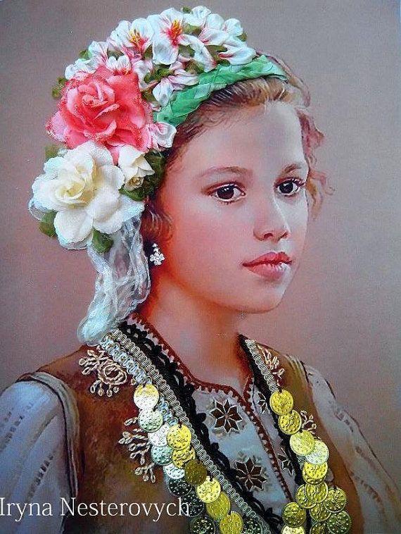 painting Bulgarian woman silk ribbon by RibbonEmbroiderySilk