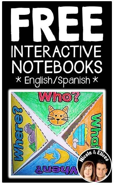 FREE interactive notebook foldables & tabs from Nicole and Eliceo. This freebie works great to help build reading comprehension skills using interactive literacy notebooks. (English & Spanish)