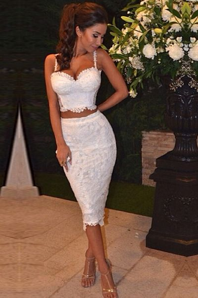 Sexy Spaghetti Strap Two Piece Knee Length Lace Dress