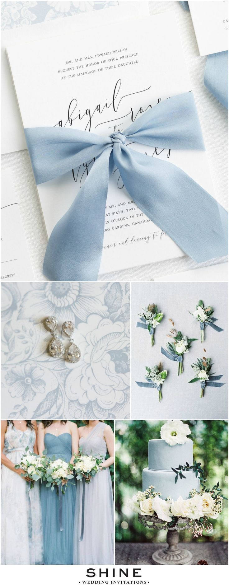 Dusty Blue and Gray Wedding Inspiration | Romantic Dusty Blue Wedding Invitations with Modern Calligraphy and a custom dyed 100% silk charmeuse ribbon | Floral Envelope Liner, Dusty Blue Bridesmaids Dresses, Blue Cake, Velvet Boutonnieres