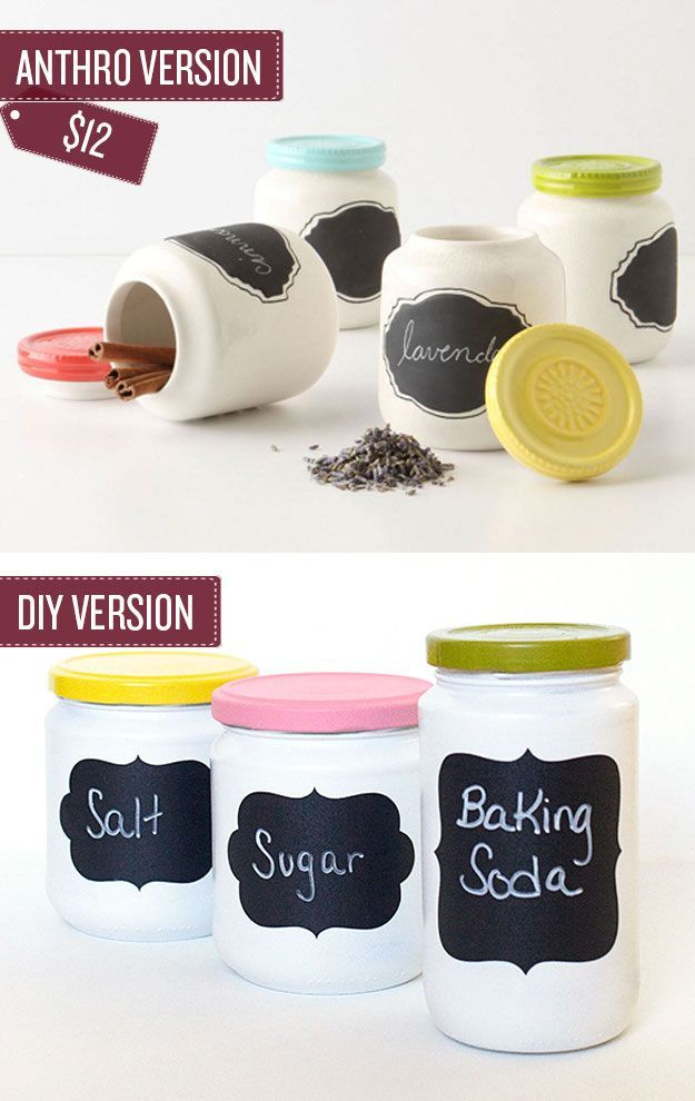 Turn old jars into chalkboard spice jars for an organized pantry. Such a great DIY and craft idea for mason jars | 38 Anthropologie Hacks