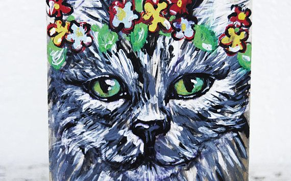 Custom flower crown pet portrait Pet caricature painting Pet