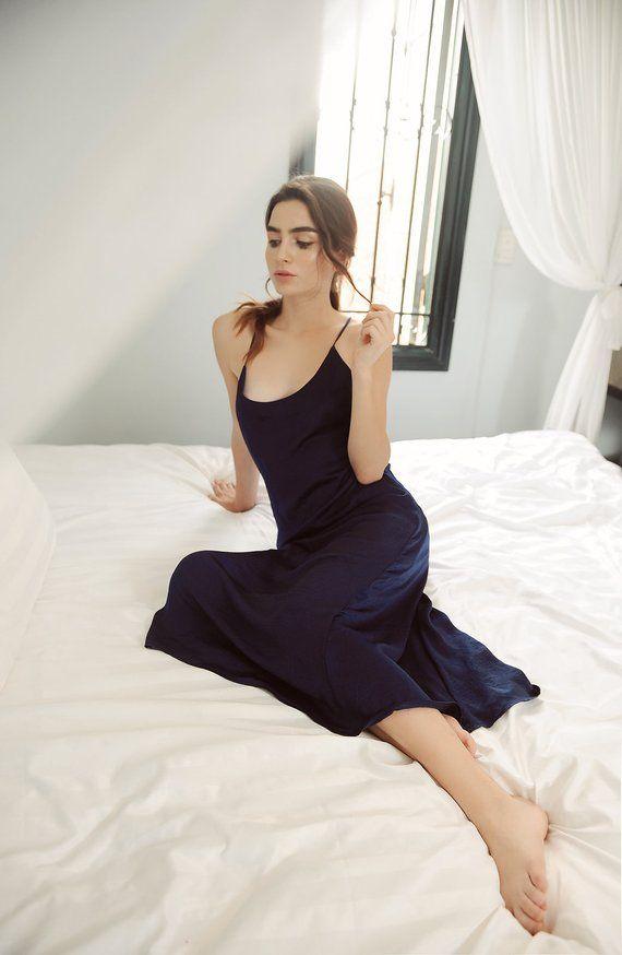 e852da44d9 Lelasilk women silk low back  open back  sexy back  backless long dress  sleepwear  sleep dress  wedd