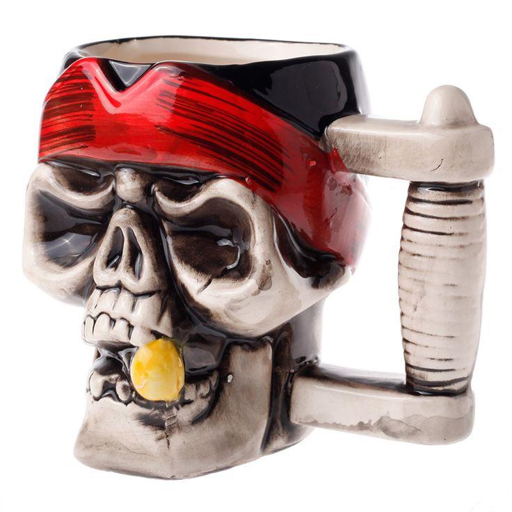 Творческий предметы обихода воды кружки золотые зубы череп пирата керамики кофейный чашка