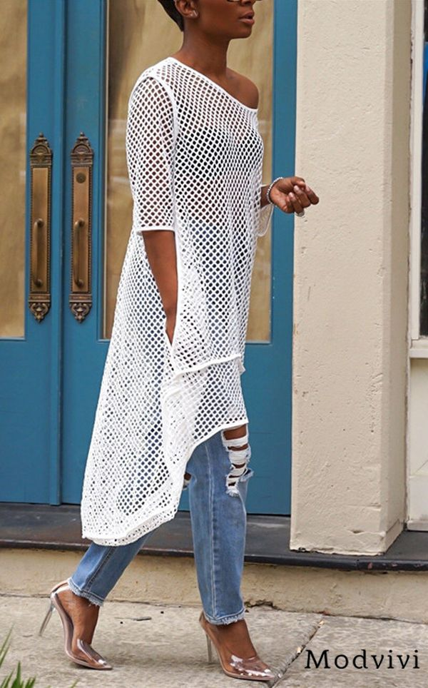 Shop Now> Asymmetrical Hollow-out Blouse #blouse #ootd #style