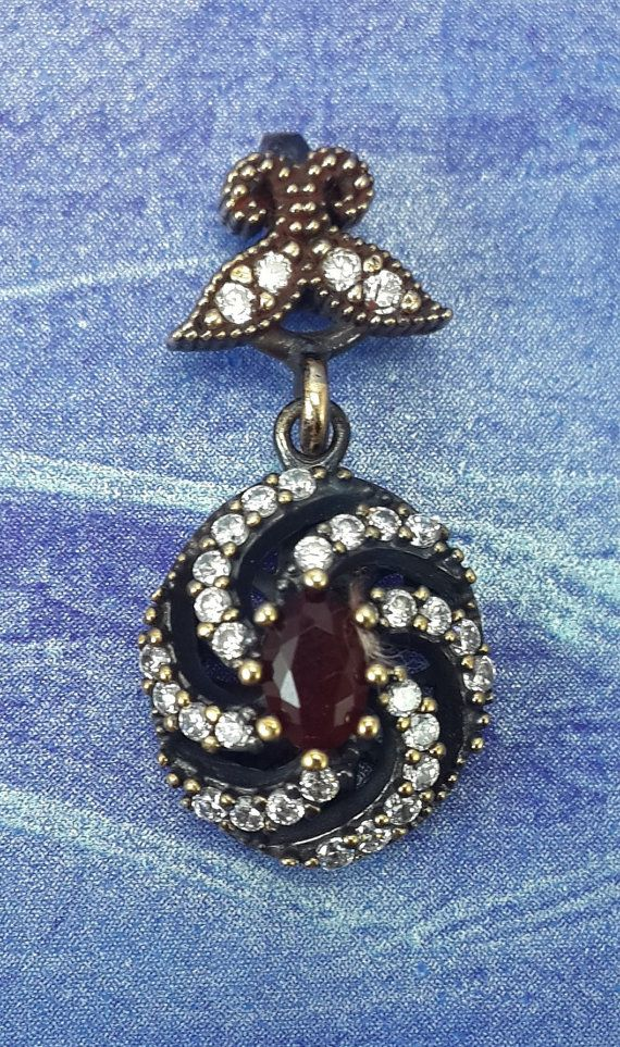 TWISTER Turkish Topaz Stone Ruby 925K Sterling by REPUBLICOFSILVER
