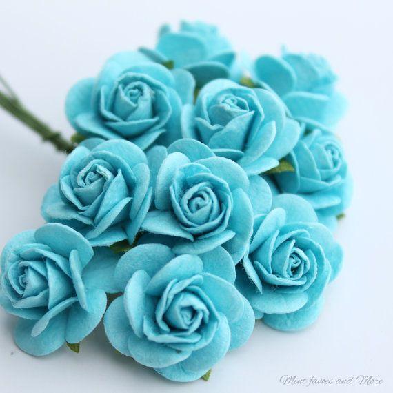 Türkise-Rosen Blumen Verzierungen  von MintFavorsAndMore auf Etsy