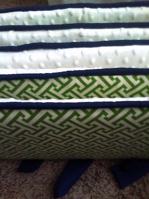 Green White And Navy Custom Crib Bumper Boy Or Girl