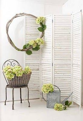 shutters: Old Shutters, Screens Dividers, Brabourn Farms, Green Hydrangeas, Folding Screens Ideas, Folding Doors Repurposed, House, Rooms Dividers, Backdrops Ideas