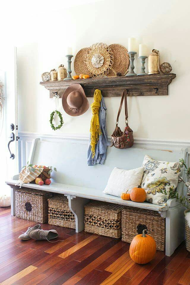 fall entry with church pew fall home tour shades of blue interiors - Church Pew